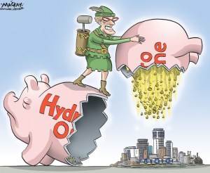 "Editorial cartoon by Graeme MacKay, The Hamilton Spectator - Thursday June 4, 2015 Liberals pass Ontario budget, clearing way for privatization of Hydro One Ontario's Liberal government used its majority Wednesday to pass the omnibus budget bill, which clears the way for the sale of Hydro One, the huge transmission utility. The government hopes to raise $9 billion by selling 60 per cent of Hydro One, starting with 15 per cent this year, and will use $5 billion to pay down hydro debt and $4 billion on public transit and infrastructure projects. ""This was a difficult decision, but it is the right decision because if we do not do this, we cannot make the investments in transit and transportation infrastructure,"" Premier Kathleen Wynne told the legislature. The Progressive Conservatives and NDP warned electricity prices will rise, the government will lose control of Hydro One and legislative watchdogs like the ombudsman and auditor general will lose oversight of the utility. ""You may think you're helping yourself politically by removing this oversight, in reality, without these checks, you will become more arrogant, more reckless, which will lead to even greater scandals,"" warned PC energy critic John Yakabuski. ""Will you not save yourself from your party's own hubris and allow the auditor general and the ombudsman to continue to investigate Hydro One?"" Wynne said the Liberals took steps to protect the public by ensuring that no one individual will own more than 10 per cent of Hydro One, that the Ontario Energy Board will continue to set prices, and that the government would retain control of the utility by owning at least 40 per cent. (Source: Chronicle Journal) http://www.chroniclejournal.com/news/national/liberals-pass-ontario-budget-clearing-way-for-privatization-of-hydro/article_9043d631-9625-5e67-84d6-744dd0cc0ee6.html Ontario, Kathleen Wynne, Hamilton, LRT, transit, Hydro, Hydo One, privatization, sell, robin hood"