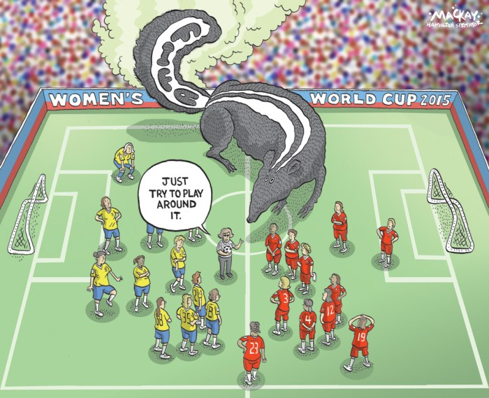 "Editorial cartoon by Graeme MacKay, The Hamilton Spectator - Saturday June 6, 2015 FIFA President Victor Montagliani says Canada won World Cup hosting privileges by default With rampant allegations of corruption, fraud and bribery within the FIFA executive ranks, it's unsurprising that Canada Soccer is facing questions about how it won the bid for this year's FIFA Women's World Cup. According to Canada Soccer president Victor Montagliani, the answer is simple: no one else wanted to host the tournament. ""With all due respect, we were pretty much the only country that wanted it,"" he told Rick Cluff on CBC Radio One's The Early Edition. ""When we bid for it, there was seven originally. Five dropped off right away and they chose to bid for other World Cups. There was only one other country with us which was Zimbabwe and they pulled out."" blatter-sepp-150602-620 Embattled FIFA President Sepp Blatter could still attend the final match of the Women's World Cup in Vancouver, despite his resignation. (Ennio Leanza/Keystone/Associated Press) With 14 arrests of high-ranking officials and the resignation of embattled president Sepp Blatter causing a media firestorm, the women's tournament is at risk of being overshadowed. But, Montagliani says he will welcome Blatter to Vancouver for the final match should he choose to come. ""We've been told that he is attending ... it probably will be a media circus, but in the same token you have to respect the fact that he still has the office of the presidency,"" he said. ""He has every right to attend a FIFA event as the president."" (Source: CBC News) http://www.cbc.ca/news/canada/british-columbia/fifa-women-s-world-cup-in-canada-because-no-one-else-wanted-it-says-canada-soccer-1.3102336 Canada, Interantional, soccer, FIFA, Women, World Cup, football, skunk, scandal, corruption"