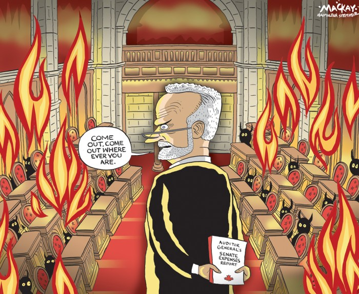 Editorial cartoon by Graeme MacKay, The Hamilton Spectator - Tuesday June 9, 2015 Senate to forward expense files of nine Senators to the RCMP The Senate handed the expense records of nine of its own to the Mounties on Friday as part of the fallout from the two-year examination of its books by auditor general Michael Ferguson. ÒWeÕve committed to not question any element of the report,Ó Senate Speaker Leo Housakos told the Star in an interview, adding that he would have preferred that Ferguson be the one to refer his own findings to the RCMP. The Canadian Press reported retired Liberal senator Rod Zimmer, one of the nine whose expenses were referred to the police, led the pack when it came to the amounts Ferguson said should be repaid. He had disputed expense claims totalling $176,014 in travel expenses for non-parliamentary business and a housing allowance he should not have claimed. The Star has confirmed the audit to be formally released June 9 identifies a total of $976,627 in inappropriately claimed expenses, and that more than half that amount Ñ about $546,000 Ñ is linked to just five senators. That is the amount Ferguson found issues with following arduous, line-by-line reviews of 80,000 transactions worth about $180 million involving 117 senators from April 1, 2011 to March 31, 2013. (Source: Toronto Star) http://www.thestar.com/news/canada/2015/06/05/retired-sen-don-oliver-lashes-back-at-auditor-general-over-expenses.html Canada, audit, Senate, Senator, expenses, scandal, auditor-general, Michael Ferguson, hell, devil, Parliament