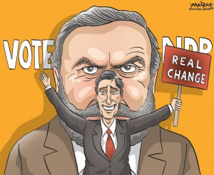 Editorial cartoon by Graeme MacKay, The Hamilton Spectator - Wednesday June 17, 2015 Trudeau and Mulcair today: Compare and contrast Major speeches by NDP Leader Thomas Mulcair and Liberal Leader Justin Trudeau today served up an intriguing contrast. Mulcair sought to soothe anyone worried about the sort of economic change an NDP government might bring. Trudeau tried to reignite interest, especially among progressive voters whose enthusiasm for him might be waning, by promising Liberals would usher in big change in Canadian democracy. The two men vying to be seen as the most viable alternative to Prime Minister Stephen Harper clearly face different challenges. Mulcair is on the rise in the polls, and his aimÑas he delivered an economic policy speech in Toronto at the Economic Club of CanadaÑseemed to be to forestall a worried reaction to his emergence as a serious challenger. But Trudeau has slipped in recent months, after a long stretch leading the polls, creating whatÕs shaping up as a tight three-way race with HarperÕs Conservatives and MulcairÕs NDP. His goal in a speech to assembled Parliament Hill reporters at OttawaÕs Ch‰teau Laurier was to reignite interest in his leadership with at least one promise that canÕt be ignored. And both took the opportunity to shore up their policy messages with a little personal narrative, the sort that modern political strategists view as essential to connecting with voters. (Continued: Maclean's) http://www.macleans.ca/politics/ottawa/trudeau-and-mulcair-today-compare-and-contrast/ Canada, Thomas Mulcair, Justin Trudeau, NDP, Liberal, campaign, election, politics, platform, polls