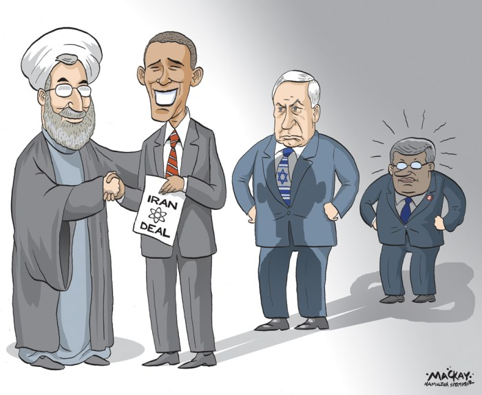 Editorial cartoon by Graeme MacKay, The Hamilton Spectator - Wednesday July 15, 2015 Iran after a nuclear deal: Where will Canada stand?  Iran and the P5+1 Ð China, France, Russia, the United Kingdom and the United States, or the five permanent members of the UN Security Council, plus Germany Ð finally reached a deal on Tuesday resolving the long-standing dispute over IranÕs nuclear ambitions. This raises questions for Canada, which has displayed a particularly aggressive stance toward Iran in recent years. The Harper governmentÕs hostility toward Tehran has been based on the premise, frequently expressed by the Prime Minister and senior ministers, that Iran poses the greatest threat to international peace and security. The government has nuanced this assessment recently, labelling Iran a ÒsignificantÓ threat to international security, presumably reflecting growing concern about the Islamic State and Russia. Nevertheless, it remains that Canada has differentiated itself from its allies under the Conservatives, adopting a harder line against Iran. Concretely, this has meant that to protest against IranÕs nuclear program, human rights record, and confrontational regional policies, Canada has implemented all UN sanctions against Iran and has vocally adopted additional unilateral measures. In multilateral settings, Canadian diplomats repeatedly and assertively lambaste Iran. Ottawa also severed diplomatic relations in 2012. As nuclear talks progressed over the past two years, Canada remained deeply skeptical of Iranian intentions and insisted that only tangible actions would prove IranÕs commitment to restraining its nuclear program. Canada also systematically emphasized that human rights had not improved under President Hassan Rouhani and that IranÕs support for terrorism across the Middle East continues unabated. This aggressive policy towards Iran has been based on a flawed premise, has had a marginal impact, and has resulted in few measurable benefits. (Contin