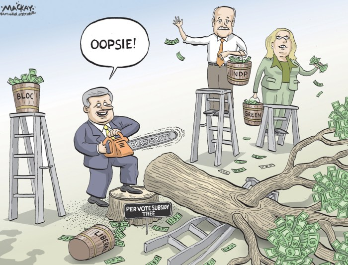 """By Graeme MacKay, The Hamilton Spectator - Thursday May 26, 2011 Budget will phase out political subsidies The government will table its post-election budget on June 6, a document that will implement the Conservatives' promise to phase out political subsidies. Finance Minister Jim Flaherty made the announcement Wednesday morning on Parliament Hill. """"On Monday, June 6 our government will reintroduce the next phase of Canada's economic action plan, a low tax plan for jobs and growth,"""" Flaherty said. The document will include several updates to reflect election promises, but Flaherty said the budget will be almost identical to the document that was unveiled prior to the election. The original budget died when the election writ was dropped, and never went to a vote in the House of Commons. Among the changes: the budget will make good on a Conservative election promise to end political subsidies. """"We will include phasing out the per-vote political party subsidy as according to what was set out in the platform...which was a phasing out,"""" Flaherty said when asked by CTV's Ottawa Bureau Chief Robert Fife. The budget will also set aside $2.2 billion to fund an agreement the government hopes to reach with Quebec to create a Harmonized Sales Tax. With the Conservatives' new majority government status, there is little doubt the budget will pass. New Democrat Leader Jack Layton lashed out over the elimination of the political party subsidies, suggesting the move was damaging to democracy (Source: CTV News) http://www.ctvnews.ca/budget-due-june-6-will-phase-out-political-subsidies-1.648866 Canada, Stephen Harper, Elizabeth May, Jack Layton, party, subsidy, political, money, tree, majority, chainsaw"""