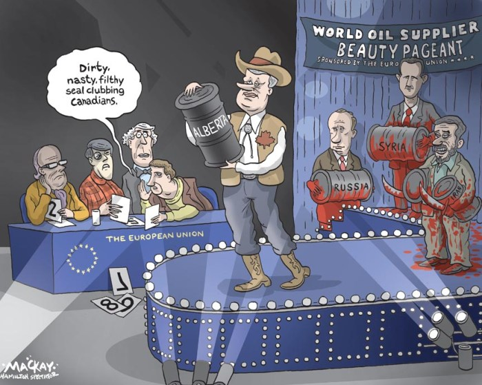 "By Graeme MacKay, The Hamilton Spectator, Monday February 27, 2012 Canada claims win in EU oilsands vote The Conservative government and Canadian energy sector are girding for several more months of intense lobbying after European Union officials Thursday blocked a draft fuel law that would label the oilsands a dirtier form of crude. The Canadian government is trumpeting the outcome - which saw more EU officials reject the fuel directive than support it - as a temporary victory in its ongoing efforts to persuade European Union countries not to slap a higher carbonemissions rating on oilsands crude compared toÊconventional oil. It also means Canada's threats of launching a trade war with the European Union and taking the proposal to the World Trade Organization are on hold for now. But the result has environmental groups digging in their heels in the ""dirty oil"" fight and even more determined to prevent bitumen-derived fuels from being used in Europe. With many of Canada's allies abstaining from the vote, European Union countries supporting the proposed Fuel Quality Directive failed to win enough support at a Thursday committee meeting of technical experts to have it pass. However, there also wasn't enough support to kill the measure, so a council of EU ministers will now vote on the fuel directive, likely in June - but not before the Conservative government and petroleum producers ratchet up their efforts to quash it outright. ""There was a sound win,"" federal Natural Resources Minister Joe Oliver said in an interview. ""We will continue to advocate our position. It has obviously resonated.""Ê(Source: Ottawa Citizen) Canada, European Union, EU, Oil, crude, Alberta, Stephen Harper, Vladimir Putin, Bashir Assad, Mahmoud Ahmadinejad, Russia, Syria, Iran, Otto Dix, seal hunt. Europe, pageant, runway, fashion"