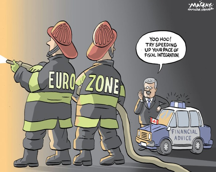 "By Graeme MacKay, The Hamilton Spectator, Thursday June 7, 2012 Harper says time running out to tackle eurozone's woes Prime Minister Stephen Harper says Europe has so far avoided a ""catastrophic event"" that could throw the global markets into turmoil, butÊthat a ""broader game plan"" is needed to deal with the economic woes plaguing the continent. ""Although our European friends have done a great job of avoiding a catastrophic event over the past four years, the fact is that we are nowÊfour years into this crisis and we do not have definitive solutions,"" Harper said during an interview with CBC's chief correspondent, PeterÊMansbridge. Harper said the United States, facing its own financial crisis in 2008 and 2009, ""decided to put all energies towards dealing with the crisis,Êthey contained the crisis and reversed it. And the same thing needs to be done here."" Speaking from London, where he attended the Queen's Diamond Jubilee celebrations, Harper noted that many European countries areÊstruggling with recession, sovereign debt crises and banking-sector woes. The Bank of Canada said Tuesday that those problems have worsened in the past few weeks Ñ so much so that they have prompted aÊ""sharp deterioration"" in global financial conditions. The latest crisis concerns the solvency of European banks, particularly those in Spain,Êbut a Greek exit from the eurozone following mid-June elections also looms as a potential shock. When asked how much room is on the runway, Harper said there is ""still some room"" but ""we just can't constantly deal with short-termÊproblems Ñ we've actually got to have a plan to make this a stable situation.Ó (Source: CBC News) Canada, Stephen Harper, Eurozone, Financial, Advice, fiscal, integration, economist"