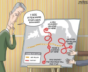 "Editorial cartoon by Graeme MacKay, The Hamilton Spectator - Friday, August 7, 2015 first phase of the LRT may also connect to waterfront  The latest twist in Hamilton's long-running LRT saga leads straight to the waterfront. Two months ago, Premier Kathleen Wynne surprised city politicians with a $1-billion promise to build light rail transit along the King Street corridor Ñ with the caveat it must link to the new James Street GO station via an unplanned spur line. Now, a city report outlining the next steps for the ambitious project suggests the north-south spur line could be extended all the way to the waterfront. That's the ""ideal vision,"" said Mayor Fred Eisenberger, who cautioned Metrolinx has yet to weigh in on the notion or cost of extending the spur beyond the west harbour GO Station. ÒI think the spur line makes all sorts of sense, given what we have in mind for the waterfront, and in my mind itÕs doable.Ó ""I think it makes all sorts of sense, given what we have in mind for the waterfront, and in my mind it's doable,"" he said after the city released a LRT update report Wednesday. The city is working furiously to prepare for a hoped-for $500 million development boom on piers 7 and 8, including up to 1,600 housing units and new commercial space. Originally, the city asked for $811 million to build a 14-kilometre, east-west line running along the ""B-line"" transit corridor between McMaster University and Eastgate Square. But the province signed off on a shortened line ending at the Queenston traffic circle to cover the added cost of a link to the GO station. The section east of the traffic circle is identified as an unfunded ""phase two"" project. Extending the spur line to add a waterfront stop Ñ almost a kilometre beyond the GO station Ñ would fulfil part of the city's long-term vision for a north-south ""A line"" rapid transit route from the harbour to the airport, noted city spokesperson Mike Kirkopoulos. (Source: Hamilton Spectator) http://www.thesp"