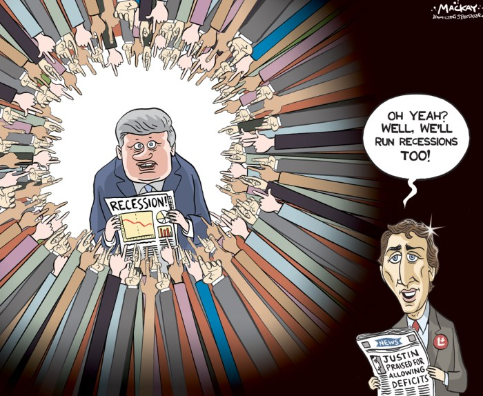 "By Graeme MacKay, Editorial Cartoonist, The Hamilton Spectator - Tuesday September 1, 2015 Recession confirmed as Canada's GDP shrank in 2nd quarter Canada's economy expanded in June but declined by 0.1 per cent for the second quarter as a whole, meeting the bar of what is legally defined as a recession. The economy expanded by 0.5 per cent in June, Statistics Canada said. But that slight monthly uptick wasn't enough to offset the contraction in the previous two months, which means for the second quarter as a whole, the economy shrank. The economy also shrank in the first quarter, which means Canada's economy has met the bare minimum required before a recession is declared Ñ two consecutive quarters of decline. On an annualized basis, the economy shrank by 0.5 per cent in the April-to-June period, after contracting at an 0.8-per-cent annual pace in the first three months of 2015. For comparison purposes, the U.S. economy expanded by 3.7 per cent during the same period, the data agency noted The numbers bring an end to what had been a contentious issue during the current federal election campaign. While most economists would agree that a recession is a more complex beast than merely pegging it to two quarters of negative growth, most agree it's as good a place to start as any. Indeed, the federal government's recent legislation on balanced budgets defines a recession as ""a period of at least two consecutive quarters of negative growth in real gross domestic product for Canada, as reported by Statistics Canada."" ""With StatsCan making it official that we did have two consecutive quarters of declining GDP, the recession bugs will be chattering,"" Bank of Montreal economist Doug Porter noted. But while the quarter numbers were down, the data hinted at growth towards the end that may have carried into the current third quarter. (Source: CBC News) http://www.cbc.ca/news/business/gdp-economy-recession-1.3210790 Recession, economy, election, #elxn42, #elxn2015, St"