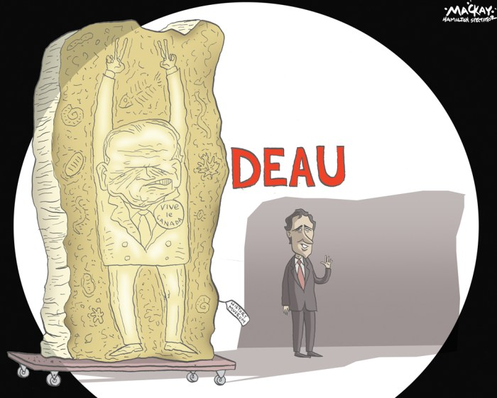 "By Graeme MacKay, Editorial Cartoonist, The Hamilton Spectator - Monday September 14, 2015 Trudeau enlists ChretienÕs support to attack Mulcair during Hamilton rally Liberal Leader Justin Trudeau has enlisted the support of former prime minister Jean ChrŽtien to accuse the NDP of wanting to make it easier to break up the country. Trudeau told a rally Sunday in Hamilton that NDP Leader Tom Mulcair would put the possibility of Quebec separation back on the table. Standing alongside ChrŽtien, Trudeau said Mulcair would repeal the Clarity Act, which says any referendum requires a clear majority for separation. Trudeau said Mulcair believes a single vote Ñ 50 per cent plus one Ñ should decide whether Canada remains united, accusing the NDP leader of playing politics for the sake of gaining a few separatist votes. Mulcair has dismissed such criticism, saying he has fought for a united Canada his whole life but that the Clarity Act doesn't spell out what constitutes a majority. ""I'll let Justin Trudeau continue with his golden oldies tour and bring out Jean ChrŽtien today and start talking about the quarrels of the past,"" Mulcair said earlier Sunday after making a senior health-care announcement in Vancouver. ""We are talking about solving the problems for the future."" (Source: Hamilton Spectator) http://www.thespec.com/news-story/5840348-trudeau-enlists-chretien-s-support-to-attack-mulcair-during-hamilton-rally/ Hamilton, Jean Chretien, Justin Trudeau, Liberal, #elxn42, relic, fossil, shadow, history, Canada, election, campaign"
