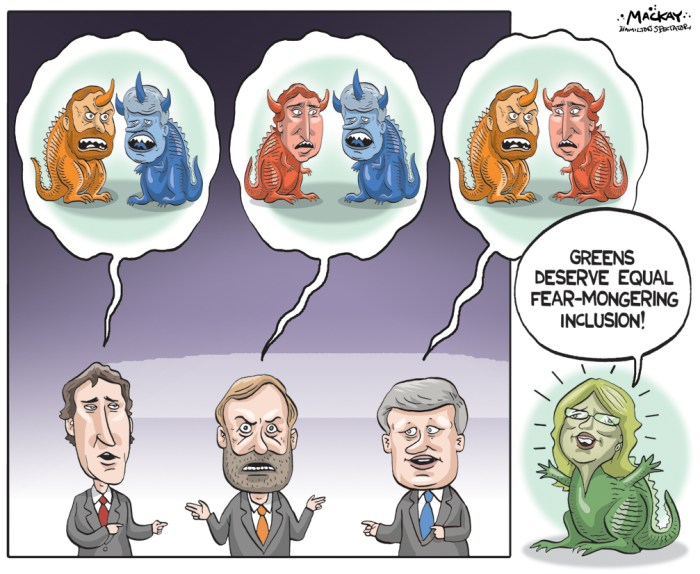 "By Graeme MacKay, Editorial Cartoonist, The Hamilton Spectator - Saturday September 19, 2015 Green Party Leader Elizabeth May dominates debate on Twitter Green Party Leader Elizabeth May was not in attendance at the Globe and Mail's leader debate in Calgary on Thursday, but on Twitter she may have come out on top. May used Twitter to answer the same questions faced by NDP Leader Tom Mulcair, Liberal Leader Justin Trudeau and Conservative Leader Stephen Harper at the Globe and Mails leader debate. The social media company filmed May's responses, retorts and fact-checks in a Victoria church and posted them to Twitter. In total, May's video posts received 14,000 retweets and favourites, and she gained 3,900 new followers. May's account also received the most mentions on Twitter at the beginning of the debate, topping Trudeau by more than 2,000. In an appearance on CTV's Power Play earlier on Thursday, May criticized the diversity of the debate. ""(I am) participating at some distance, but perhaps we can make our way into the old boys club yet,"" May said in an appearance on CTV's Power Play earlier on Thursday. She continued to mock the makeup of event on Twitter. In an appearance on CTV's Power Play earlier on Thursday, May criticized the diversity of the debate. ""(I am) participating at some distance, but perhaps we can make our way into the old boys club yet,"" May said in an appearance on CTV's Power Play earlier on Thursday. She continued to mock the makeup of event on Twitter. Before the debate, May didn't shy away from taking jabs at the Globe and Mail event, which she called a ""bogus, corporate, private debate."" Despite May's exclusion, Sean Humphrey, the Globe and Mail's vice-president of marketing, has defended the debate's format. May has also been left off the podium at the Munk Debates on foreign policy in Toronto and a French-language debate on TVA. The Green Party Leader criticized Harper and Mulcair for their plans to skip the traditional"