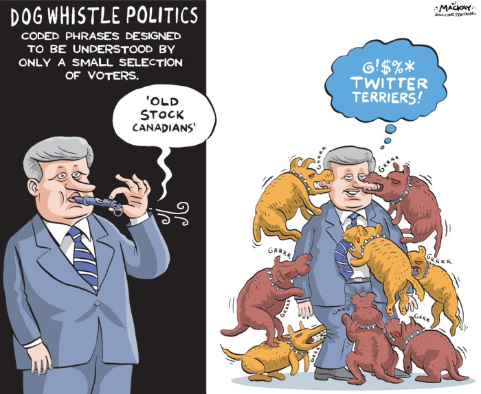 "By Graeme MacKay, Editorial Cartoonist, The Hamilton Spectator - Tuesday September 22, 2015 Stephen Harper 'playing a very divisive game' with niqabs, Tom Mulcair says Stephen Harper is ""playing a very divisive game"" with his government's effort to impose a ban on niqabs during the citizenship oath, NDP Leader Tom Mulcair said Monday, just days before a French-language debate in Quebec Ñ a province in which identity politics continues to drive a wedge between voters. ""I'm not about the politics of fear and division. Mr. Harper is going to always go after that. If he senses that there's something there that can divide Canadians one against the other, he'll do it,"" said Mulcair during a morning campaign stop in Nova Scotia. The Bloc QuŽbŽcois has also taken up the issue, saying it would go even further than the Tories and impose a ban on face coverings during citizenship ceremonies and in the voting booth. For his part, Mulcair has had to negotiate a tricky path on the issue. His party needs to retain the hard-won votes it secured in Quebec in 2011, but cannot risk losing support in the diverse suburbs of Toronto and Vancouver, where voters appear to be opposed to the government's effort to impose a ban. Part of his approach has been to accuse Harper of dog-whistle politics. ""He talks about 'old stock Canadians,'"" Mulcair said this morning, alluding to a comment Harper made during last week's leaders' debate in Calgary. ""That's a code word. He knows what he's doing when he does that."" Liberal Leader Justin Trudeau said earlier this week that the Grits have ""always been crystal clear"" about their opposition to a ban on niqabs and other veils. (Source: CBC News) http://www.cbc.ca/news/politics/canada-election-2015-niqab-bloc-1.3236837 Canada, Stephen Harper, dog whistle, politics, dogs, social media, old stock Canadians, code, hidden agenda, racism, Lynton Crosby, twitter, facebook"
