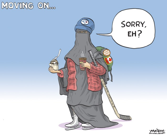 "By Graeme MacKay, Editorial Cartoonist, The Hamilton Spectator - Tuesday October 6, 2015 Muslim women sound off on 'stupid' niqab debate Many prominent Muslim women in Canada say they have heard enough of the niqab debate and are ready for federal leaders to shift their sights toward issues, they say, matter. The Canadian Council of Muslim Women held an event Sunday in Toronto to hand out awards and discuss concerns in their communities. There was also an opportunity for debate between political parties on where they stand on issues affecting Muslim women in Canada. But the debate continued to focus on wedge issues rather than major themes affecting all Canadians. That did not sit well with some Muslim women, who say the topic is ""just a way to gain votes"" ahead of the Oct. 19 election. ""Right now, the federal government is talking about women and [the] niqab, which is not an issue, even for Muslims,"" said Zarqa Nawaz, the creator of Little Mosque on the Prairie. ""We're in a recession, what is the plan to go forward? Those are the things I want to talk about. Not about women in [the] niqab and why she can't sing the national anthem with her face covered. That's just stupid."" Maryam Dadabyoy, community relations officer for the National Council on Canadian Muslims, appeared annoyed with the niqab conversation. She says the federal government should be inclusive of all Canadians. ""It's an issue that won't go away and it's not even that important,"" Dadabyoy said. ""We need to see a government that just makes us feel more a part of the community and not being ostracized,"" she continued. ""Not very many women do wear [the] niqab, but it's being thrown in everyone's face."" (Source: CBC News) http://www.cbc.ca/news/canada/toronto/muslim-women-sound-off-on-stupid-niqab-debate-1.3256417 Canada, citizenship, niqab, Islam, bigotry, #elxn42, #elxn2015, election, conservative, Islamophobia, stereotype, values, Canadian"