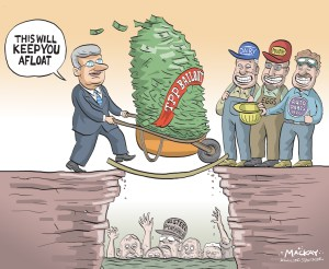 "By Graeme MacKay, Editorial Cartoonist, The Hamilton Spectator - Friday October 9, 2015 Decision on U.S. Steel Canada benefit, tax cuts Friday The judge presiding over U.S. Steel Canada restructuring hearings says he will render a decision Friday on a controversial plan to sever the subsidiary from its parent company and relieve it of tens of millions of dollars in pension benefit and municipal tax obligations. Justice Herman J. Wilton-Siegel said it is one of the toughest decisions he has had to make from the bench. He said he will give a short written summary of his decision tomorrow and then follow it up with a detailed explanation next week. Dozens of USSC retirees bused into Toronto again today and packed the courtroom where lawyers representing stakeholders gave their final submissions. A lawyer for the steelmaker reiterated the company's position that USSC was a victim of circumstances and changing market conditions that turned the business into a crisis requiring the difficult measures of the transition agreement. Pension benefit obligations were estimated to be $40 million before the end of this year and the company does not have the funds, he said. He refuted arguments from United Steelworkers lawyers that savings could be found elsewhere Ñ making the pension benefit hit unnecessary Ñ and that the company's grim fortunes were the result of steel orders being moved from the Canadian subsidiary to other U.S. Steel operations. United Steelworkers 1005 President Gary Howe said after the hearing that he expects the judge to go along with the company plan because it has the backing of the monitor overseeing the proceedings. In its most recent statement, the monitor said ""a near-term cessation of operations will be necessary"" if the company plan isn't accepted. (Source: Hamilton Spectator) http://www.thespec.com/news-story/5951456-decision-on-u-s-steel-canada-benefit-tax-cuts-friday/ Hamilton, U.S. Steel, Trade, Foreign Investment, subsidies, bailout, St"
