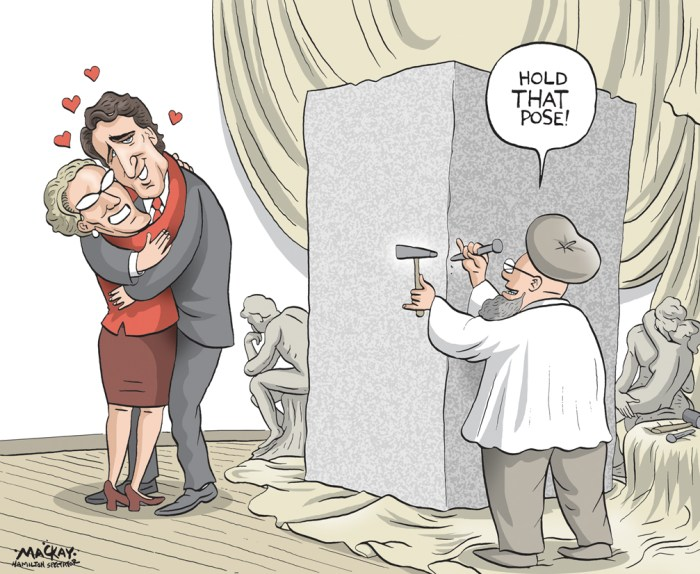 By Graeme MacKay, Editorial Cartoonist, The Hamilton Spectator - Thursday October 29, 2015 Justin Trudeau has begun repaying Premier Kathleen Wynne for helping him become prime minister. Upon being sworn in to succeed Prime Minister Stephen Harper next Wednesday, Trudeau will reverse his predecessorÕs attempt to derail the Ontario Retirement Pension Plan. That announcement came after a 30-minute meeting Tuesday at QueenÕs Park between the two leaders. ÒWe made progress on our mutual commitment to build greater retirement security for Ontarians and Canadians,Ó said Zita Astravas, WynneÕs director of media relations. ÒOnce it takes office, the incoming federal government will direct the Canada Revenue Agency and the departments of finance and national revenue to work with Ontario officials on the registration and administration of the . . . ORPP,Ó said Astravas. ÒThis would be the same assistance with pension administration that the federal government has extended in the past to Quebec and Saskatchewan. The ORPP is being designed to integrate with any future CPP enhancement,Ó she said, referring to the Canada Pension Plan. Finance Minister Joe Oliver said in July that Ottawa would not provide administrative support for WynneÕs retirement scheme because the Conservatives felt it would Òtake money from workers and their families, kill jobs and damage the economy.Ó ÒAdministration of the ORPP will be the sole responsibility of the Ontario government, including the collection of contributions and any required information,Ó Oliver, who lost his Eglinton-Lawrence seat on Oct. 19, said at the time. During the campaign, Harper boasted that he was ÒdelightedÓ to hinder the Ontario plan, which launches in 2017. ÒKathleen Wynne is mad that I wonÕt help her do that . . . . YouÕre bloody right. The Conservative government is not going to help bring in that kind of tax hike.Ó Wynne created the Ontario plan after Harper refused to bolster CPP, which pays out a maximum ben