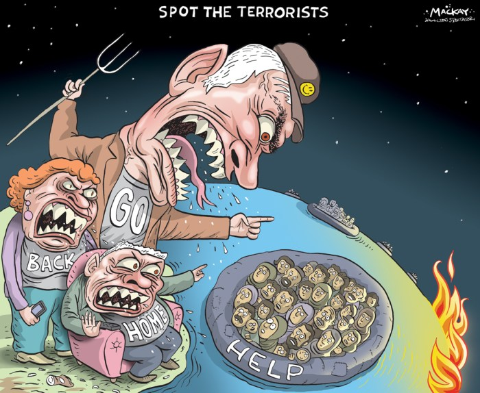 "By Graeme MacKay, Editorial Cartoonist, The Hamilton Spectator - Wednesday November 18, 2015 Paris attacks polarize Canadians on refugee resettlement plan Saskatchewan Premier Brad Wall is asking Prime Minister Justin Trudeau to suspend his plan to accept 25,000 Syrian refugees by January 1st. Premier Wall believes Friday's attacks in Paris are a reminder of ""the death and destruction even a small number of malevolent individuals can inflict upon a peaceful country and its citizens."" And he's not the only one voicing such fears. Jurisdictions across Europe and North America are rethinking their intake of Syrians amid reports that one of the Paris attackers may have been processed as a refugee from Syria. In Europe, Poland's plan to take in 4,500 refugees now appears in doubt and Germany's open-door policy is facing a fresh wave of criticism. In the United States, eight Republican governors have vowed to close their doors to Syrian refugees. But yesterday President Barack Obama stood by his plan to admit 10,000 refugees in 2016. In Canada, online petitions demanding a halt to Prime Minister Trudeau's plan are making the rounds. One such petition, in Quebec Ð a province whose cultural rifts are often compared to those in France Ð has gained nearly 59,000 signatures in a matter of days. A competing petition calling for support for the refugees quickly racked up nearly 25,000 signatures of its own. Those working behind the scenes to try to bring thousands of Syrian refugees to Canada have not been swayed by the attacks in Paris. Immigration Minister John McCallum issued a statement yesterday reiterating the government's commitment to immediately resettle 25,000 refugees and that it will not compromise Canada's security in order to do so. (Source: CBC News) http://www.cbc.ca/radio/thecurrent/the-current-for-november-17-2015-1.3322358/paris-attacks-polarize-canadians-on-refugee-resettlement-plan-1.3322384 Canada, North America, racism, bigotry, islamophobia, Sy"