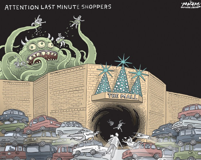 "By Graeme MacKay, The Hamilton Spectator - Friday December 23, 2011 The Last-Minute Club According to the BMO Holiday Spending Survey, fewer Canadians are waiting until the last minute to cross names off of their holiday shopping list, with the majority planning their shopping weeks or months in advance (44 per cent and 37 per cent respectively). However, one-in-ten (11 per cent) still don't begin their holiday shopping until the last minute, leaving themselves only a few days to wrap up their gift giving. ""With Canadian families balancing busier schedules more than ever before, it's no surprise that a few shoppers will be rushing around at the last-minute. However, this last-minute rush can often cause people to make impulse decisions and sometimes over-spend extend themselves on gift buying,"" said Su McVey, Vice President, BMO Bank of Montreal. ""Planning ahead and establishing a budget early on to cap and track holiday spending can help avoid last-minute spending pitfalls."" Ms. McVey added that online banking features, including tools such as BMO MoneyLogic(TM), allow Canadians to set spending limits and get immediate insights into whether or not they are staying on track. So as Canada's last-minute shoppers rush to cross names off their shopping lists, BMO Bank of Montreal offers the following Do's and Don'ts for the frantic, time-crunched holiday shopper: Don't Panic - You still have time to get everything done. Keep your shopping list handy at all times and try to pick up one or two items when you can - either during your lunch hour or after work. A call ahead to the retailer can confirm whether or not your item is in stock. Ask them to hold it for you so you can get in and out of the store quickly. (Source: Marketwatch) Christmas, shopping, parking, mall, consumers, commerce, shoppers, eve"