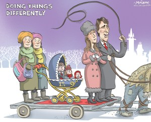 "By Graeme MacKay, Editorial Cartoonist, The Hamilton Spectator - Wednesday December 3, 2015 Trudeau children's nannies being paid for by taxpayers Canadian taxpayers are paying the wages of two nannies hired to care for the children of Prime Minister Justin Trudeau and his wife, Sophie GrŽgoire-Trudeau, according to cabinet orders posted online. The hirings were approved late last week, with cabinet authorizing the appointment of the two women under the Official Residences Act as ""special assistants at the prime minister's residence."" They will be paid between $15 and $20 an hour during the day and $11 to $13 an hour for night shifts effective Nov. 4 Ñ the day Trudeau and his cabinet were sworn in. The disclosure comes after an election campaign where Trudeau repeatedly attacked the Conservatives' enhanced universal child care benefit, or UCCB, and income splitting for families, arguing rich families like his and former prime minister Stephen Harper's didn't need taxpayers' help. ""In these times, Mr. Harper's top priority is to give wealthy families like his and mine $2,000,"" Trudeau said in reference to the Conservatives' income-splitting tax credit. ""Let me tell you something: We don't need it. And Canada can't afford it."" Trudeau is also entitled to collect annual UCCB payments of about $3,400 for his three children. He promised to give the money to charity. One of the women hired was with the Trudeaus this past week on the prime minister's foreign trip that wrapped up Monday at the UN climate change conference in Paris. She posted photos online of the couple's two children who came on the trip. There were also shots of her with the Trudeaus' youngest child on Facebook visiting museums and at the hotel where they stayed in Paris. The prime minister's director of communications, Kate Purchase, said in an email that the two women who have been hired are doing more than childcare. ""Like all families of prime ministers, a small number of staff provide assi"