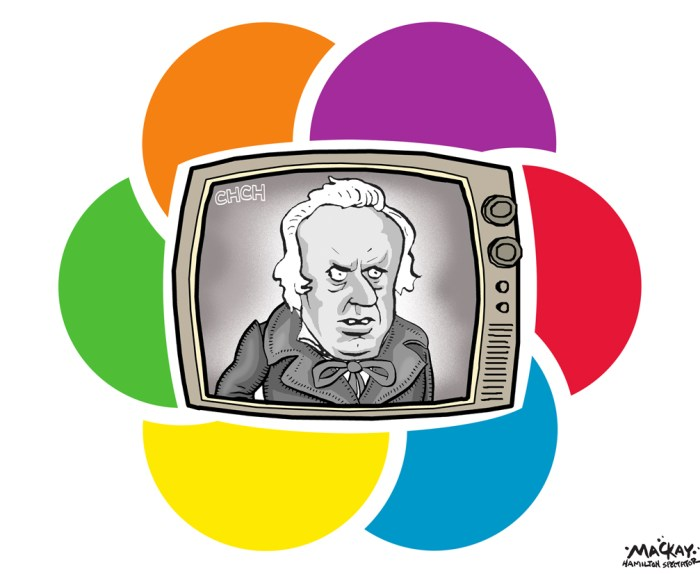 "By Graeme MacKay, Editorial Cartoonist, The Hamilton Spectator - Friday December 11, 2015 CHCH TV cancels tonightÕs newscast; station future uncertain CHCH news staff is waiting to find out the fate of their station after being told there will be no 6 o'clock newscast tonight. An announcement to staff is expected at 4 p.m., by email, sources inside the CH newsroom say. The fear is the station is shutting down or being dramatically reduced. Employees began asking questions this morning after money was unexpectedly deposited in some employees' bank accounts. One staffer Ñ who does not want to be identified Ñ says the amount was equal to about two paycheques. The station is owned by Channel Zero in Toronto. One staffer, who didn't want her name used because she was clinging to the hope she might still have a job on Monday, said the mood is ""awful."" As of 2:45 p.m. people were still optimistically working to file stories, she said. (Source: Hamilton Spectator) http://www.thespec.com/news-story/6180588-chch-tv-cancels-tonight-s-newscast-station-future-uncertain/ Hamilton, CHCH, broadcasting, news, layoffs, bankruptcy, Christmas, scrooge, logo"