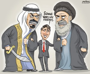 "Editorial Cartoon by Graeme MacKay, The Hamilton Spectator Ð Wednesday January 6, 2016 Canada stands by $15B Saudi arms deal after executions A $15-billion contract signed under the previous government to supply Saudi Arabia with light-armoured military vehicles won't be revisited after the execution of dozens of prisoners in that country, the foreign minister says. Sheik Nimr al-Nimr, a prominent Shia cleric, was one of 47 prisoners recently executed by Saudi Arabia. ""We have said during the campaign Ñ the prime minister has been very clear Ñ that we will not cancel this contract or contracts that have been done under the previous government in general,"" StŽphane Dion said Tuesday in an interview with Rosemary Barton on CBC's Power and Politics. ""We'll review the process by which these contracts are assessed in the future. But what is done is done and the contract is not something that we'll revisit,"" Dion said. Since the Shia cleric's execution, a diplomatic row between Iran and Saudi Arabia has escalated. Iranian protesters stormed the Saudi embassy in Tehran and Iran's top leader, Ayatollah Ali Khamenei, predicted ""divine vengeance"" for the execution. Dion condemned the executions and the subsequent violence in Tehran directed at the Saudi embassy. He said Canada could play a more robust role in easing tensions between the two powers if it had a diplomatic relationship with Iran, despite its questionable record. ""The fact that Canada is not in Tehran is helping nobody. It's not helping the population of Iran, it's not helping Saudi Arabia, it's not helping Israel Ñ so we need to engage Iran in trying to be positive in the region,"" the foreign minister said. (Source: CBC News) http://www.cbc.ca/news/politics/stephane-dion-saudi-arms-deal-1.3390854 Canada, Iran, Saudi, Arabia, Sunni, Shia, Justin Trudeau, Sunny, ways, diplomacy"