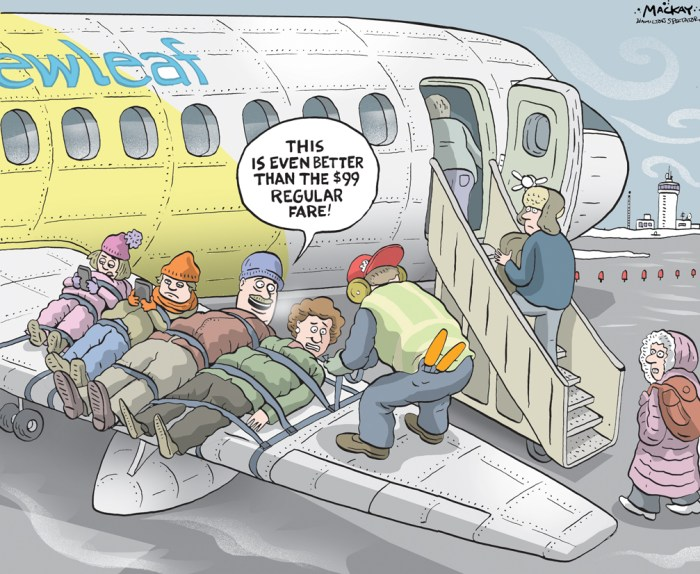 "Editorial Cartoon by Graeme MacKay, The Hamilton Spectator Ð Friday January 8, 2016 Ultra-low-cost carrier planning flights from Hamilton airport Canada's latest airline will unveil its plans for flights out of Hamilton airport on Wednesday. That's when Dean Dacko, chief commercial officer of NewLeaf Travel, the country's new ultra-low-cost air carrier, will unveil the company's plans for making Hamilton one of its hubs. Details of the announcement remain a closely guarded secret, but in a news release airport officials promise ""NewLeaf plans to revolutionize the Canadian travel market."" NewLeaf's bare-bones website promises its service will feature ""No more extra costs for things you don't want"" and ""You pay for your seat and the rest is up to you."" Wednesday's announcement will include details on non-stop routes, pricing and booking. NewLeaf announced its interest in the city in June, saying it would make its headquarters in Winnipeg with bases in Hamilton and Kelowna. Ultra-low-cost carriers Ñ also called no-frills or budget airlines Ñ offer lower fares, making up for lower ticket prices by charging for extras such as food, priority boarding and baggage. The largest such operator is United States-based Southwest Airlines. Aircraft and crews for the NewLeaf flights will be supplied by Kelowna-based Flair Airlines. Ultra-low-cost carriers are new to Canada's aviation industry and Hamilton airport executives have been keen to get at least one located here as a boost to their long-cherished dream of turning the John C. Munro Hamilton International Airport into a passenger destination. While they have long argued that 2 million people live within an hour's drive of the airport, its passenger history has been one of soaring hopes followed by bitter disappointment as more than 20 airlines have come and gone through the facility. Passenger traffic peaked in 2003 at about 1 million when the airport was the eastern hub for WestJet, before the airline moved the"