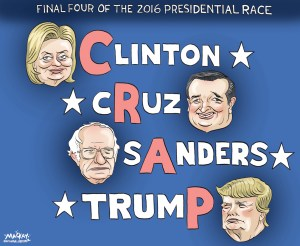 Editorial Cartoon by Graeme MacKay, The Hamilton Spectator Ð Wednesday January 20, 2016 Donald Trump, Hillary Clinton remain overwhelming front-runners in races for 2016 nomination Donald Trump and Hillary Clinton remain the overwhelming national front-runners to win the 2016 nominations for each of their parties, a new poll released Tuesday showed. According to the latest NBC News / Survey Monkey survey, Trump got the support of 38% of Republican and Republican-leaning voters nationally. Texas Sen. Ted Cruz was his next closest competitor, with 21%, while Florida Sen. Marco Rubio came in third with 11% support. No other candidate got more than 8%. On the Democratic side, Clinton remained the leader, with 52% support nationally among Democratic and Democratic-leaning voters, compared with 36% for Vermont Sen. Bernie Sanders. Former Maryland Gov. Martin OÕMalley got 1% support. The results for both parties are unchanged from the poll NBC News and Survey Monkey released last week. (Source: NY Daily News) http://www.nydailynews.com/news/politics/trump-clinton-remain-front-runners-nominations-poll-article-1.2501567 USA, United States, election, 2016, presidential, politics, Hillary Clinton, Ted Cruz, Bernie Sanders, Donald Trump
