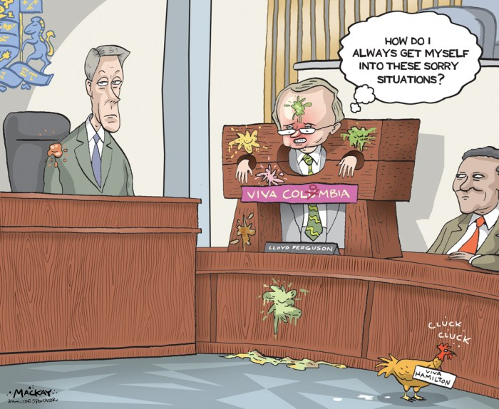 "Editorial Cartoon by Graeme MacKay, The Hamilton Spectator - Saturday February 6, 2016 Ferguson unrepentant and ÔoffendedÕ by accusations (By Andrew Dreschel) An official with the Colombian consulate says it's not up to him to say whether Coun. Lloyd Ferguson should apologize for controversial comments about his country being backwards. ""I leave that to the City of Hamilton,"" Toronto-based trade commissioner Alvaro Concha said Thursday. But far from entertaining apologies, an unrepentant Ferguson is on the attack. He's ""offended"" that his reference to Colombia as a ""backwards"" place where the only wealthy are ""drug lords"" and chickens ride buses has been branded as stereotyping by politicians and members of the public. ""I wasn't making that crap up; it's what I visibly saw,"" said Ferguson, who visited Colombia 12 years ago for a weeklong business conference. ""I don't like being accused of stereotyping because I wasn't stereotyping. I witnessed it first hand."" Ferguson made his controversial comments during a budget meeting this week. He was responding to the city's transit director using a quote from the Mayor of Bogota, Colombia's capital city, stating a developed country is not where the poor have cars, but where the rich use public transit. Calling the ensuing kerfuffle a ""tempest in a teapot,"" the Ancaster councillor and police board chair says he was objecting to benchmarking Hamilton against Bogota, a city of eight million. Coun. Mathew Green immediately took Ferguson to task for stereotyping. When the story went mainstream, it lit up social media and online commentary. Many demanded Ferguson apologize. The pitchfork-and-torch mob called him a racist and xenophobe. One twit on Twitter accused Mayor Fred Eisenberger of agreeing with Ferguson because he was silent on the issue. Eisenberger pushed back, calling that and other comments as ""outrageous"" as Ferguson's own. (Continued: Hamilton Spectator) http://www.thespec.com/opinion-story/6264566-dresche"