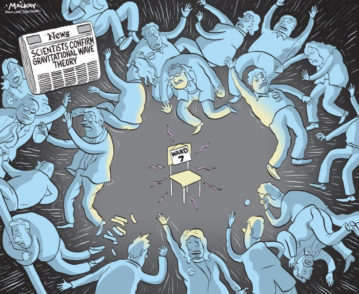 Editorial Cartoon by Graeme MacKay, The Hamilton Spectator Ð Saturday February 13, 2016 A crowded Ward 7 byelection race is officially underway and residents have no lack of would-be councillors to choose from. Twenty-two candidates Ñ the most in any one ward race since amalgamation Ñ are vying to replace Scott Duvall, who vacated his city council seat after becoming the new NDP federal representative for Hamilton Mountain. Nearly 40,000 ward residents are to cast votes on March 21 Ñ or at advance polls slated for March 10 and 12. The Spectator asked all candidates to provide information about themselves, their campaigns and a short pitch for why they deserve your vote. They all have a lot more to say Ñ and it's worth noting most are easily found on Twitter or Facebook, too. (Source: Hamilton Spectator) http://www.thespec.com/news-story/6269042-here-are-your-ward-7-byelection-candidates/ Meanwhile, scientific detection of gravitational waves marks new era in astronomy (Source: CBC NEWS)  Hamilton, byelection, ward 7, politics, candidate, gravity, script, mountain