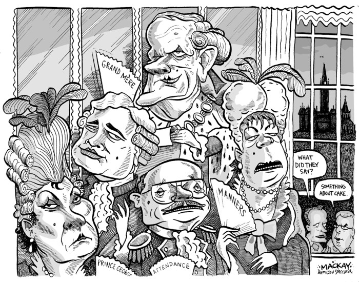 "Editorial Cartoon by Graeme MacKay, The Hamilton Spectator Ð Saturday March 31, 2001 Fry feels new opposition heat Prime Minister ChrŽtien had to withstand attacks upon his alleged arrogance, his government's methods in distributing federal funds to certain regions, and his representation of a building firm located in his riding in its efforts to gain a bank loan. Added to that were dubious events in 2001 involving cabinet ministers Hedy Fry, Don Boudria, Brian Tobin, and Sheila Copps, which added to the impression of rampant arrogance and pomposity in the Chretien cabinet. The Prime Minister, Jean Chretien, told the Commons he would look into allegations that his secretary of state for multiculturalism had called the RCMP in British Columbia seeking information to back her claim of Ku Klux Klan cross burnings in Prince George. Chretien, in response to Nova Scotia New Democrat Peter Stoffer, initially said he saw nothing wrong with Fry checking for something on the public record, then demurred, saying it was the first time he heard of the charge and would ""check that."" At another point, as Fry looked imploringly at her boss for help during Question Period, Chretien had his back turned on her, speaking to his House leader Don Boudria. (Source: The Toronto Star, March 27, 2001) http://www.fact.on.ca/news/news0103/ts01032l.htm Canada, royalty, Jean Chretien, Hedy Fry, Brian Tobin, Don Boudria, Sheila Copps, Stockwell Day, Joe Clark, arrogance, marie antoinette"