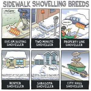 Editorial Cartoon by Graeme MacKay, Editorial Cartoonist, The Hamilton Spectator - Tuesday March 11, 2008 McHattie is hot on snow removal If you've had it up to here with shovelling snow, Councillor Brian McHattie has an easy-on-the-back solution. The Ward 1 councillor is proposing hiring contractors to clear sidewalks outside people's homes next winter. If McHattie gets enough support from his west-end constituents, he'll ask city council to approve adding the snow removal cost toÊproperty owners' tax bills. After discussing it with city staff, McHattie estimates it will cost Ward 1 residents $28 to $31 per household for the first year of service. In the second year of a presumed five-year contract, the cost would fall to around $19 to $22 per year. It would be more expensive the first year because the private contractor would likely have to buy specialized plows. The work would be contracted out because the city apparently doesn't have the resources to take on the job itself. Right now, McHattie's proposal is focused only on his own ward. But he says there's nothing stopping other councillors looking at the same service for their area. (Source: Hamilton Spectator) Canada, sidewalk, snow, winter, shovelling, habits, bylaw, civility, shovel