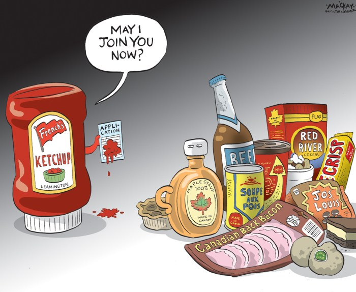 "Editorial Cartoon by Graeme MacKay, The Hamilton Spectator Ð Friday March 18, 2016 Loblaws' French's ketchup snub sparks patriotic backlash Loblaws' fleeting decision to stop selling French's ketchup Ñ made from Ontario tomatoes Ñ brought out the patriotic side of Canadian consumers and forced the grocery giant to give the underdog brand a second chance. ""In many ways, Loblaws dropping the French's ketchup line has been a huge boost to the brand awareness that French's even makes ketchup,"" said Tandy Thomas, a Queen's University business professor who specializes in how consumers connect socially with marketing. ""Suddenly French's has become the Canadian brand of ketchup in everyone's minds and that's elevated them to a level of awareness that they never had before."" Within 24 hours of announcing it would pull the condiment from shelves, public outcry prompted Loblaws to reverse course. Canadians took to social media in droves to pledge loyalty to the ketchup made from tomatoes farmed in Leamington, Ont., a town once known for its Heinz factory before that company pulled up stakes two years ago. In justifying its initial decision to pull the product, Loblaws cited weak sales for French's, which has struggled to penetrate a ketchup market long dominated by Heinz. ""When people really think of ketchup, they think of Heinz. Because there is this iconic image behind it, it makes it very difficult for somebody else to come in and be viewed as something that is an equal competitor,"" Thomas said. ""Someone might come in as a lower-priced competitor and people might choose it based on the price, but they still view it as being inferior to Heinz, which is the gold standard for ketchup."" But that could change as Canadians claim sides in the ketchup wars. French's has been held up as a saviour in Leamington since announcing in January that it would make all its ketchup from tomatoes farmed in the community, which was plunged into economic turmoil after Heinz shu"
