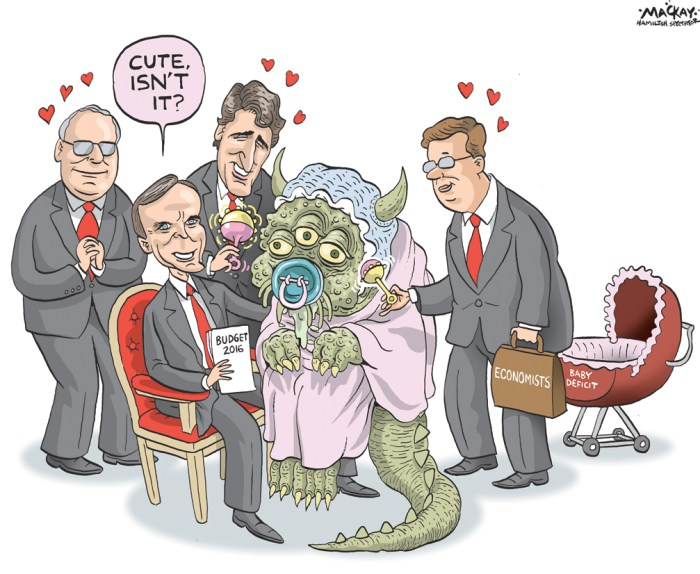 Editorial Cartoon by Graeme MacKay, The Hamilton Spectator Ð Tuesday March 22, 2016 OttawaÕs deficit-spending budget WhoÕd have thought that a governmentÕs deficit-spending budget would garner such universal support? But most business groups, usually the shrillest of critics, are behind the Liberal governmentÕs plans. This backing includes support from the Canadian Chamber of Commerce, Canadian Manufacturers and Exporters, economists at the big banks and several think tanks. And this, even though the budget may see a $30 billion deficit when unveiled in Ottawa Tuesday. It says a lot about how the world has changed. In the past decade, many economic assumptions have been turned upside down. Many attitudes have also changed. Who would have once thought that our central bank would be trying to stoke inflation, rather than crush it? Or that instead of worrying about rising interest rates killing the economy, weÕd be worried that falling rates killing the economy? Or that it would okay for central banks to create trillions of dollars out of thin air? This new consensus is really a capitulation. It says that, after eight years of manipulating interest rates, that policy hasnÕt worked. No amount of pushing on that string has created growth. So itÕs time to pull lever number two, fiscal policy. You spend money you donÕt have (but promise to pay back). You hope to stimulate demand so that businesses will follow along and economic activity will increase. Central banker Stephen Poloz delayed cutting CanadaÕs key rate again in January from its lofty one half of one per cent for this reason. He wanted to see what Ottawa planned to do. The frantic effort to get something going is as much about the future as the present. The concern is that when the next recession arrives Ñ which inevitably it will Ñ there will be nothing central banks can do. ThereÕll be no ammunition left in the rate-cut gun. Most economic expansions last between five and seven years. The current one i