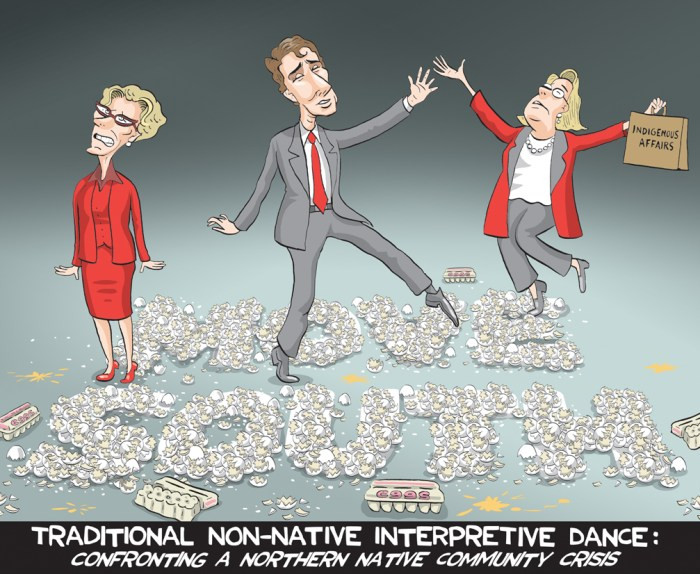 "Editorial Cartoon by Graeme MacKay, The Hamilton Spectator Ð Wednesday April 13, 2016 Attawapiskat emergency debate to be held by MPs this evening The House of Commons will hold an emergency debate this evening over ""the gravity"" of the many suicide attempts on the northern Ontario First Nation reserve of Attawapiskat. Members of Parliament will address the crisis during the debate scheduled to begin at approximately 6:40 p.m. ET and expected to last until midnight. The request for an emergency debate comes as Attawapiskat Chief Bruce Shisheesh fears more young people will try to harm themselves while the community tries to grapple with the crisis after declaring a state of emergency Saturday, following reports of 11 suicide attempts in one day. There are also reports of over 100 suicide attempts and at least one death since September. On Monday, provincial and federal government officials sent a medical emergency assistance team and five additional mental health workers to the First Nation community of less than 2,000. Three mental health workers were already in the community, a spokesperson for Health Canada told CBC News on Tuesday. The emergency debate was approved by House Speaker Geoff Regan Tuesday morning on a request from NDP MP Charlie Angus, whose riding includes Attawapiskat. ""The crisis in Attawapiskat has gathered world attention and people are looking to this Parliament to explain the lack of hope, that's not just in Attawapiskat but in so many indigenous communities. And they're looking to us, in this new Parliament, to offer change,"" Angus said in the House of Commons on Tuesday morning. Angus said the emergency debate would allow MPs to address ""the lack of mental health services, police services, community supports"" facing so many First Nations communities across the country. ""In closing,"" Angus said, ""the prime minister called the situation in Attawapiskat 'heartbreaking' but it is up to us as parliamentarians to turn this into a moment"