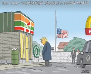 """Editorial Cartoon by Graeme MacKay, The Hamilton Spectator - Wednesday April 20, 2016 Trump commends first responders to '7-Eleven' attacks Donald Trump made an awkward slip of the tongue at a rally in Buffalo, N.Y.,Êon Monday evening, referringÊto the Sept. 11, 2001, attacksÊas """"7-Eleven.""""Ê """"I was down there, and I watched our police and our firemen down on 7-Eleven, down at the World Trade Center [in New York City], right after it came down, and I saw the greatest people I have ever seen in action,"""" said the businessman, a candidate for the Republican nomination for president. The 2001 attacks on Manhattan and the Pentagon are commonly referred to asÊ9/11.ÊThe convenience store chain 7-Eleven isÊknown for its Slurpee frozen drinks.Ê Trump was apparently oblivious to the fact he'dÊconflated the two. Ê He was speaking to thousands of supporters at a rally held ahead of the New York primaries on Tuesday. The video was shared widely onÊsocial media, including as a Vine with nearly fourÊmillion loops. (Source: CBC News)Êhttp://www.cbc.ca/news/trending/trump-seven-eleven-video-1.3542293 9-11, September 11, gaffe, Donald Trump, speech, 7-11, 7-Eleven, terrorism"""