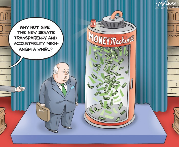 "Editorial Cartoon by Graeme MacKay, The Hamilton Spectator Ð Tuesday May 3, 2016 Mike Duffy makes quiet return to Parliament Hill Mike Duffy returned to Parliament Hill on Monday, a little more than a week after a court dismissed all of the 31 charges against him related to his Senate expenses. The P.E.I. senator casually strolled past waiting reporters without saying anything, and entered Centre Block through the front doors that lead to the Senate chamber. He was similarly silent when he later came upon reporters outside his third-floor office. The Senate is not sitting Monday, but Duffy could return to the Upper Chamber when business resumes on Tuesday. He has not appeared in the Senate since 2013, when he addressed the controversy around his expenses shortly before senators voted to suspend him without pay. That suspension ended with last year's election call. And with last month's verdict, Duffy was cleared to return to the job to which he was appointed in 2008. Senior Conservative senators have already said that they will fight any effort by Duffy to collect that back pay saying the suspension process was separate from the criminal trial proceedings. ""There is no appetite among senators to revisit this. It brings back some very tumultuous times,"" Conservative Senator Leo Housakos, chair of the internal economy committee, told CBC News last week. Claude Carignan, the leader of the Conservative opposition in the Senate, added Monday that he is staunchly opposed to cutting a cheque to Duffy. ""I completely disagree with [back pay for Duffy]. If he asks for that I will disapprove because that was in fact a completely different situation. He was suspended on a disciplinary sanction for negligence in the management of his office. His criminal charges were something completely different,"" he said. James Cowan, the leader of the Senate Liberals, added that it would be up to Duffy to make his case to fellow senators. ""Any senator is entitled to bring anything"