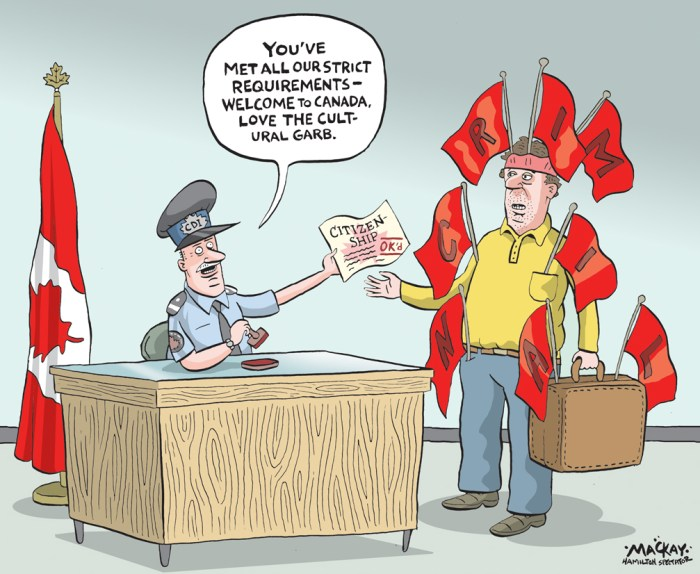 Editorial Cartoon by Graeme MacKay, The Hamilton Spectator Ð Wednesday May 4, 2016 Citizenships of about a dozen people at risk after auditor general report Immigration officials are looking at revoking the Canadian citizenship of about a dozen people after the auditor general found the government isnÕt doing enough to root out fraud in the citizenship system. Michael FergusonÕs report uncovered instances of people with serious criminal records and others using potentially phoney addresses among those who managed to secure Canadian citizenship thanks to holes throughout not just the Immigration Department but the RCMP and Canada Border Services Agency as well. The cases flagged represent just a fraction of the nearly half a million people whoÕve become Canadian citizens in the last two years, but that doesnÕt mean improvements arenÕt necessary, Immigration Minister John McCallum said Tuesday. ÒThe vast majority of the cases are clear but we are not happy if even one case is fraudulently obtained and that is why we are vigorously implementing the recommendations of the auditor general,Ó McCallum said. Recommendations related to improving information sharing between departments will be implemented by the end of the year, McCallum said. Another suggestion Ñ that officers be given more power to seize fraudulent documents Ñ is currently in a bill being debated in the House of Commons. Among the cases caught by Michael FergusonÕs team: four people who were granted citizenship despite having criminal records that would render them ineligible, and two who were approved despite having committed crimes after passing a criminal-background check. The audit also revealed it took seven years for officials to cotton on to the fact a single address had been used by at least 50 different applicants during overlapping time periods. Of the 50, seven became Canadian citizens. A review of 49 cases where an individualÕs address had been flagged as problematic concluded that in 1