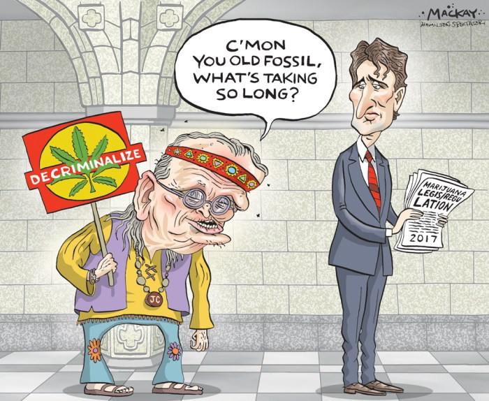 "Editorial Cartoon by Graeme MacKay, The Hamilton Spectator Ð Wednesday May 11, 2016 Jean Chretien says criminal records for pot possession 'completely unacceptable' Jean ChrŽtien says politicians have to adjust to changing times, as his own views on marijuana, capital punishment and other contentious issues evolved after he was first elected in the early 1960s. Whether it's pot smoking, abortion, gay marriage or the death penalty, the former prime minister says he's tried to reflect the spirit of the times Ñ even if his changing politics put him in conflict with his conservative upbringing in a large, Roman Catholic family in rural Quebec. ""What were certain values 50 years ago, are not the same today. We have to live with that. It's not always easy,"" he said. When asked Monday about Prime Minister Justin Trudeau's decision to legalize the sale of marijuana, ChrŽtien said he is in favour of decriminalization. ""What is completely unacceptable, in my judgment, is a young man smoking marijuana will have a criminal record for the rest of his life, (and) he can't cross the border Ñ come on,"" ChrŽtien said after a ceremony marking the official opening of a public policy think-tank at Dalhousie University in Halifax. ""It is the modern thing to do ... You have to adjust to the new life.Ó When ChrŽtien was prime minister, his government tried in 2003 to pass a law decriminalizing simple possession of small amounts of marijuana, but the bill died when Parliament was prorogued. Earlier this year, Liberal MP Bill Blair, a former Toronto police chief, said Criminal Code provisions on marijuana must be upheld until legalization is in place. Blair, parliamentary secretary to the justice minister, is the Trudeau government's point man on the issue. NDP Leader Tom Mulcair has said the government should decriminalize marijuana right away. ""I'm glad Mr. ChrŽtien agrees with us, that would be my comment,"" NDP justice critic Murray Rankin said Monday. ChrŽtien, 82, said he"