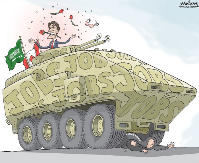Editorial Cartoon by Graeme MacKay, The Hamilton Spectator Ð Friday May 13, 2016 Canada must Ôstick to its wordÕ on Saudi arms deal, Trudeau says Canada is obliged to uphold its reputation for honouring business deals and therefore must sell $15-billion of armoured vehicles to Saudi Arabia, Justin Trudeau said on Wednesday when asked about video footage that shows the Saudis using similar machines against civilians in the Mideast country. ÒWe need to be able to project [to] the world that when Canada agrees to something, it sticks to its word,Ó the Liberal Prime Minister told MPs in the Commons. Footage published by The Globe and Mail on Wednesday shows armoured vehicles being used against minority Shia Muslim dissidents. Copies of the videos, which date from 2012 and 2015, were supplied by Saudi human-rights activists who want Canada to suspend shipments of combat vehicles to Riyadh. The combat vehicles in the videos are not Canadian-made, but they demonstrate the regimeÕs inclination to use such military assets against its own people in a region that is very difficult for Canada to monitor. It also casts doubt on the Liberal governmentÕs assurances that the massive arms sale to Saudi Arabia presents no risks for the countryÕs civilians. Asked by NDP Leader Tom Mulcair whether he believes the videos show violations of human rights by the Saudis, Mr. Trudeau said Canada cannot renege on this deal with Saudi Arabia. ÒWe need to make sure we are respected on the world stage by keeping our word,Ó he said. The deal for the armoured vehicles, which will be equipped with machine guns and anti-tank cannons, was secured by the former Conservative government. The Liberals, however, gave the green light for shipments to proceed when Foreign Affairs Minister StŽphane Dion issued export permits in early April for the bulk of the $15-billion contract. (Source: Globe & Mail) http://www.theglobeandmail.com/news/politics/canada-must-stick-to-its-word-on-saudi-arms-deal-tru