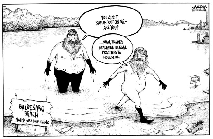 "Editorial Cartoon by Graeme MacKay, The Hamilton Spectator Ð Saturday May 8, 1999 What Next? Buff Beach Bid Before Aldermen Sun Worshippers Seek City Blessing Michael Baldasaro and Walter Tucker provide a peek at what's in store if Hamilton grants their bid for a clothing-optional beach.Dateline: Text: Hamilton has had a bad case of Toronto-envy for years, but is it worth baring all at the beach to keep up with the megacity down the highway?It's a question that may get more than a passing glance in the next few weeks as city council members try to deal -- straight-faced -- with an unusual request from an unusual duo. Walter Tucker and Michael Baldasaro, pot-smoking, self-proclaimed ministers in t he Church of the Universe and seekers of the decriminalization of marijuana, want the city to designate a clothing-optional beach at Bayfront Park. We're talking naked sun-worshippers here. The law says women are free to go topless outdoors in Ontario, but the idea of a nude beach is pretty strong stuff in Hamilton, where women may not swim topless or breastfeed in city-owned swimming pools. ""This is not a sexual thing, it's just a natural thing, "" said Baldasaro, a past mayoral candidate who has served a total of about two years in jail for various marijuana-related convictions. ""Lots of families like to do it together. We're family people.Ó Tucker points to a changes in Toronto as support for the duo's quest for hassle-free nude sunbathing. ""People in Toronto have officially been recognized and provided the right to have a place to sunbathe without those strap-marks, which are gross indications of being ashamed of your body, "" he said. ""We want that same right, without curiosity seekers and people trying to take pictures.Ó Ward 3 Alderman Bernie Morelli, who chairs the city's parks and recreation committee, says the Toronto connection is a bit of a stretch. ""We're not the same as Toronto, nor do we want to be, "" he said. ""It's my personal view there is no such p"