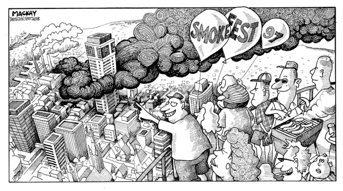 "By Graeme MacKay, Editorial Cartoonist, The Hamilton Spectator - Wednesday July 12, 1997 BURNING DESIRE TO WATCH Everyone's an armchair fire chief. As the plastic recycling plant burned to a shell, heaving an Apocalyptic cloud of smoke skyward, it seemed half of Hamilton gathered Wednesday night to gawk -- and offer their firefighting expertise to anyone within earshot. ""What nimrod would put a hose right there? The smoke's coming from over there, "" said one man, pointing agitatedly to where he felt Hamilton's smoke-eaters should be paying attention. ""Why aren't there any hoses along that wall? They should be hosing down the walls near that smokestack, "" said another, as he settled into a comfy patch of grass off of Ferguson Avenue North with his family. But along with the complainers came an enthusiastic crowd of onlookers who were treated to one of the biggest and most spectacular fires in the city's history as free entertainment. Children played, families sat on blankets, others brought coolers and lawn chairs to sit and watch along the railway tracks and grassy knolls around the Wellington Street North Plastimet Inc. plant. It seemed more like Victoria Day fireworks than a fire disaster. People Ooooooh'ed and Ahhhhh'ed when walls started to collapse, or when the thick smoke coming from the fire scene temporarily changed from black to light grey and then back to black. Area residents spilled on to their porches and tugged on beer and cola. An enterprising ice cream vendor peddled into the area. Dogs caught Frisbees. People laughed. Some children cried. Driving was a nightmare as rubberneckers spent more time gazing at the plume of smoke than on the road, and the streets and sidewalks were jammed by people following the towering inferno to find the source of the fire. A threesome of young pedestrians, picking their way along Barton Street towards the fire, were excitedly guessing the cause of the blaze. ""Maybe it's a bomb! Or a plane crash!"" offered"