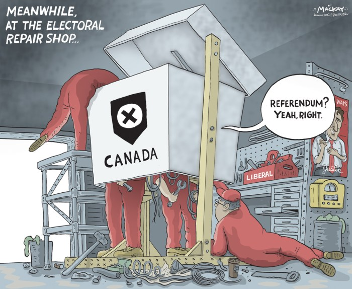 "Editorial Cartoon by Graeme MacKay, The Hamilton Spectator Ð Thursday June 2, 2016 'We can do better': Liberals kick off push to change Canada's voting system Having promised that the last federal campaign will be the last one conducted under the first-past-the-post voting system, the Liberal government is proposing that a special committee study the alternatives and report back to the House of Commons by Dec. 1. A motion to create the committee was unveiled on Tuesday night. Democratic Reform Minister Maryam Monsef and Government House leader Dominic LeBlanc explained their government's plans on Wednesday morning. The committee would consist of 10 voting members: six Liberals, three Conservatives and one New Democrat. One Bloc QuŽbŽcois MP and Green MP Elizabeth May would be members of the committee, but not allowed to vote. ""In a multi-party democracy like Canada, first past the post distorts the will of the electorate. It's part of why so many Canadians don't engage in or care about politics,"" Monsef told reporters. ""While there's no such thing as a perfect electoral system, we can do better.Ó The committee would be asked to ""identify and conduct a study of viable alternate voting systems, such as preferential ballots and proportional representation, to replace the first-past-the-post system, as well as to examine mandatory voting and online voting.Ó Options would be judged on the basis of five principles: * Effectiveness and legitimacy. * Engagement. * Accessibility and inclusiveness. * Integrity. * Local representation. The committee would invite every MP to conduct a forum on electoral reform in his or her riding and file a report on the discussion by Oct. 1. And the committee itself would conduct a ""national engagement process,"" including written and online submissions. (Source: CBC News)Êhttp://www.cbc.ca/news/politics/liberals-electoral-reform-1.3576472 Canada, Justin Trudeau, electoral, election, reform, garage, democracy, voting, ballot, box"