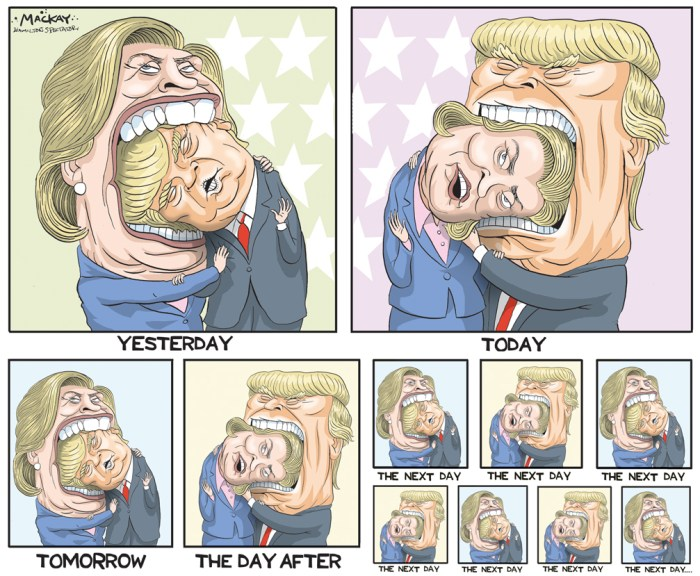 "Editorial Cartoon by Graeme MacKay, The Hamilton Spectator Ð Saturday June 4, 2016 Hillary Clinton's evisceration of Donald Trump There's a new Hillary Clinton in town. A speech that was billed as a major foreign policy address instead unfolded as a savage, mocking evisceration of Donald Trump Thursday as the former secretary of state adopted an aggressive new campaign persona designed to repel the unpredictable challenge posed by the presumptive Republican presidential nominee. In one of the most striking speeches of her political career, Clinton dispensed with the sober diplo-speak that has characterized her previous national security addresses and went straight for the jugular, unleashing a series of biting attacks on Trump. In the spirit of President Lyndon Johnson's notorious ""Daisy"" nuclear blast ad targeting Barry Goldwater's temperament in 1964, Clinton warned that Trump should not be let anywhere near the nuclear codes because he could start a war when somebody ""got under his very thin skin."" ""He's not just unprepared -- he's temperamentally unfit to hold an office that requires knowledge, stability and immense responsibility,"" Clinton said during the speech in San Diego, California, days before Tuesday's primary in the Golden State effectively concludes the primary season and confirms her as the presumptive Democratic nominee over Vermont Sen. Bernie Sanders. Trump fired back while speaking at a rally in San Jose, California, Thursday night. ""I watched Hillary today and it was pathetic. It was so sad to watch,"" Trump said, calling it a ""political speech"" that had nothing to do with foreign policy. ""It was a pretty pathetic deal,"" he added. The speech marked a significant moment in Clinton's campaign, as it was the first real signal of the tactics and attitude she will use to take on Trump and offered a preview of what are likely to be fierce clashes between the rivals at a trio of presidential debates later in the year. It demonstrated the kind o"