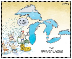 "Editorial Cartoon by Graeme MacKay, The Hamilton Spectator Ð Thursday June 23, 2016 Waukesha, Wis., plan to tap into Lake Michigan called 'wrong decision' Leamington, Ont., Mayor John Paterson is irate after a group of eight U.S. governors voted Tuesday to allow a small Wisconsin town to draw its drinking water from Lake Michigan. A panel representing governors of the eight states adjoining the Great Lakes unanimously approved a proposal from Waukesha, Wis., which is under a court order to find a solution to radium contamination of its groundwater wells. The city says the project will cost $265 million Cdn for engineering studies, pipelines and other infrastructure.Waukesha is only 27 kilometres from the lake but just outside the Great Lakes watershed. That required the city of about 72,000 to get special permission under the compact, which prohibits most diversions of water across the watershed boundary. Paterson immediately took to Twitter to denounce the decision. His peninsula town, the self-proclaimed Tomato Capital of Canada and home to hundreds of greenhouses, is surrounded by Lake Erie. ""This should not be allowed,"" Paterson told CBC News. ""I'm really disappointed it happened. That was unexpected. I actually thought the governor of Michigan was going to side with us. He even bailed.Ó The Michigan Senate adopted a resolution last month opposing Waukesha's request. Michigan Gov. Rick Snyder went against that and voted in favour of Waukesha's plan Tuesday. A 2008 pact established a potential exception for communities within counties that straddle the line. Waukesha is the first to request water under that provision. ""There are a lot of emotions and politics surrounding this issue, but voting yes Ñ in co-operation with our Great Lakes neighbours Ñ is the best way to conserve one of our greatest natural resources,"" Snyder said. Snyder also took to social media, to defend his decision.(Source: CBC News) Canada, USA, United States, Great Lakes, water, di"