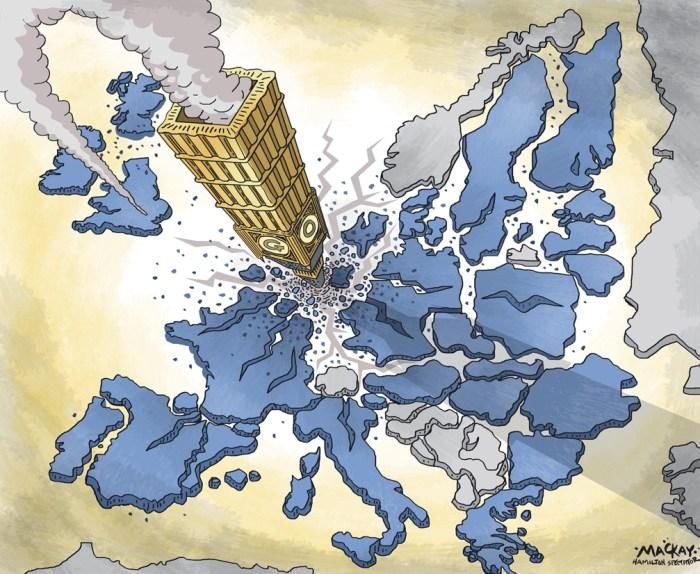 "Editorial Cartoon by Graeme MacKay, The Hamilton Spectator Ð Saturday June 25, 2016 Nexit, Frexit or Italeave? British vote fires up EU's 'Outers' Britain's vote to leave the European Union fired up populist eurosceptic parties across the continent on Friday, giving fresh voice to their calls to leave the bloc or its euro currency. Right-wing and anti-immigrant parties in the Netherlands, Denmark, Sweden and France demanded referendums on membership of the union, while Italy's 5-Star movement said it would pursue its own proposal for a vote on the euro. Geert Wilders, leader of the Dutch anti-immigrant PVV party, said he would make a Dutch referendum on EU membership a central theme of his campaign to become prime minister in next year's parliamentary election. ""I congratulate the British people for beating the political elite in both London and Brussels and I think we can do the same,"" Wilders told Reuters. ""We should have a referendum about a 'Nexit' as soon as possible.Ó On Thursday, Britons voted to leave the 28-nation EU, forcing the resignation of Prime Minister David Cameron and dealing the biggest blow to the European project of greater unity since World War Two. ""There is no future any more (for the EU),"" Wilders said. France's far right National Front party also called for a French referendum on European Union membership, cheering a Brexit vote it hopes can boost its eurosceptic agenda. Party leader Marine Le Pen celebrated the result by displaying the British flag on her Twitter page. ""Victory for freedom!"" she said. ""We now need to hold the same referendum in France and in (other) EU countries."" Her deputy, Florian Philippot said: ""Our turn now #Brexit #Frexit.Ó The populist anti-immigration Danish People's Party (DF), an ally of Denmark's right-leaning government, also called for a referendum on membership of the European Union. ""I believe that the Danes obviously should have a referendum on whether we want to follow Britain or keep things t"