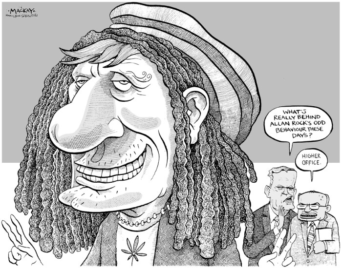 Editorial Cartoon by Graeme MacKay, The Hamilton Spectator - Saturday August 4, 2001 Our marijuana laws still in the dark ages Off-duty, journalists love the summer as much as anyone. But when he or she is back in harness, your average ink-stained wretch will tell you summer is not what it's cracked up to be, at least not in the newsrooms of the nation. We call this the silly season, when the same things that make it great make it tough to deliver a steady diet of compelling, important news. An unfortunate by-product of the silly season is that some stories take on a life of their own, their real importance blown out of proportion by the lack of competition. Take, for example, the extensive coverage this week about new federal regulations around the medicinal use of marijuana. According to much of the coverage and commentary about Allan Rock's announcement and photo-op tour of theÊcountry's first government-approved pot garden, this is a big deal. For the first time, Canadians who can demonstrate that they need to smoke marijuana to ease and control chronic pain and discomfort can grow and toke their medicine legally, provided they have a licence from Health Canada and approval from their doctor. In reality, this is a modest step, at best. Critics point out that the policy is severely restrictive in that applicants must have a life expectancy of a year or less, or be in severe pain from AIDS, cancer or some other serious medical condition. Doctors or medical specialists must support the application, and the process is alarmingly slow. To date, fewer than 300 people have been approved, with anotherÊ500 applications pending. (Source: Hamilton Spectator Editorial) Canada, marijuana, medical, medicinal, Health, Allan Rock, Jean Chretien, Herb Gray, Rasta, dreadlocks, ambition, politics, Liberal, pot