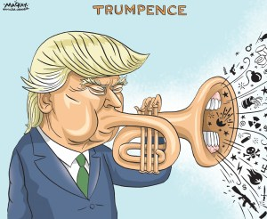 "Editorial Cartoon by Graeme MacKay, The Hamilton Spectator Ð Saturday July 18, 2016 White House candidate Trump announces Pence as his running mate Republican Donald Trump's choice of Indiana Governor Mike Pence as his vice presidential running mate on Friday helped bolster support among some conservatives skeptical about his policies, a crucial step as he prepares to accept the party's nomination next week. Some conservatives who had fought against Trump's ascendancy in the Republican nominating race welcomed his announcement that he had picked Pence, a well-known social and evangelical conservative. The Club for Growth, a conservative economic group, had sharply criticized Trump's support for protectionist trade policies. On Friday, the group noted that as a member of the House of Representatives, Pence had been a strong voice for ""free markets and economic liberty"" at a time when the Republican leadership had been weak on these issues. ""TodayÕs news gives a similar hope that Mike Pence will be effective in pulling the Republican ticket toward economic conservatism and limited government,"" the group said. Other conservatives were also heartened by Trump's VP pick, which the businessman announced in a tweet ahead of a joint appearance in his hometown of New York on Saturday. ""Pence is a principled conservative, man of faith, and talented messenger for Republican ideas,"" said Senate Majority Leader Mitch McConnell. ""His addition to the ticket will bring even more excitement to the voters who are eager to put a Republican in the White House and deny a third term for President Obama's liberal agenda.Ó Trump, 70, chose Pence, 57, over two politicians he considers friends and close advisers, former House of Representatives Speaker Newt Gingrich, 73, and New Jersey Governor Chris Christie, 53. (Source: Reuters)Êhttp://www.reuters.com/article/us-usa-election-idUSKCN0ZV1HC USA, politics, United States, republican, GOP, Donald Trump, Mike Pence, trumpet, noise"