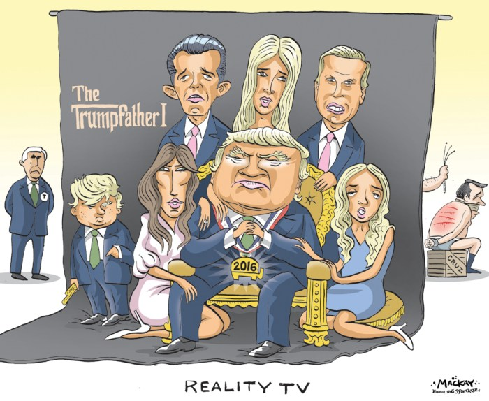 "Editorial Cartoon by Graeme MacKay, The Hamilton Spectator Ð Friday July 22, 2016 Is the Trump family AmericaÕs next political dynasty? The glaring absence of prominent Republicans from the party's convention in Cleveland raised questions about who would be filling the speaking slots in support of Donald Trump. But, confident as ever, the New York billionaire had it covered. Waiting in the wings were a host of family members willing to get on stage. Mr Trump's third wife Melania dominated the headlines after sections of her speech mimicked an address given by Michelle Obama - something Trump's campaign denied for more than a day before a Trump staffer took responsibility for ""including some of the phrasing""Êused by Ms Obama.Ê Now with successful appearances from the likes of Donald Trump Jr, his eldest son, and anticipation ahead of Ivanka Trump's speech on Thursday, many commentators have been asking whether Mr Trump's children could also follow him into politics. Presentations by Donald Jr along with Tiffany, Eric and Ivanka Trump certainly help to ""humanise"" the candidate, political scientist Larry Sabato told the BBC. But it should come as no surprise that the children are willing to speak out to support their father, he added. The children of political candidates have long spoken at conventions, and many even go on to take an active role in politics. But the Trumps are ""remarkable"" because the sheer number of family members giving evening speeches - more than any past political family, including the Kennedys, the Clintons, and the Romneys, Mr Sabato said. The high-profile appearances also highlight a historical pattern in American politics. ""We may be a democracy but we seem to like oligarchy,"" he added. (Source: BBC)Êhttp://www.bbc.com/news/election-us-2016-36852604 USA, United States, election, Republican, RNC, convention, Donald Trump, Melania Trump, Ivanka Trump, Donald Trump Jr., Eric Trump, Baron Trump, Mike Pence, Ted Cruz, Godfather"