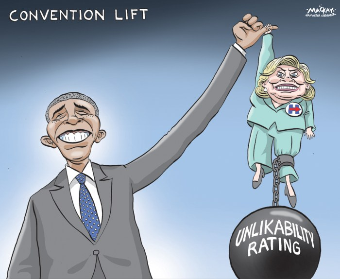 "Editorial Cartoon by Graeme MacKay, The Hamilton Spectator Ð Thursday July 28, 2016 Barack Obama to make case for Hillary Clinton, his legacy President Barack Obama's three Democratic convention speeches have, in succession, launched his national career, thrust him into the Oval Office and secured him a second term. On Wednesday, he'll work during his fourth marquee convention address to ensure those earlier efforts weren't for naught. In his prime-time pitch for Hillary Clinton, and during a heavy campaign schedule this fall, Obama plans to argue not only for the Democratic nominee, but for the progressive policies that he's spent the last eight years enacting -- an agenda that will depend largely on his successor to maintain. His message, according to those helping him prepare for the speech: Don't flush everything away with Donald Trump. Obama plans to draw on his long and complicated relationship with Clinton, which began as a rivalry but has evolved into what the pair hopes can become the first elected Democrat-to-Democrat presidential transition in modern history. In pre-convention interviews, Obama has been frank about his relationship with Clinton, admitting they aren't ""bosom buddies.Ó ""We don't go vacationing together,"" Obama said during a CBS interview Sunday. ""I think that I've got a pretty clear-eyed sense of both her strengths and her weaknesses. And what I would say would be that this is somebody who knows as much about domestic and foreign policy as anybody.Ó ""She's not always flashy. And there are better speech-makers,"" he said. ""But she knows her stuff.Ó Many top Republicans skipped their party's convention last week, fearing links to Trump. But Democratic convention organizers had a wealth of willing speakers, programming prime-time speeches from high-profile and well-liked Democrats like Obama, Vice President Joe Biden (who also speaks Wednesday), first lady Michelle Obama, Vermont Sen. Bernie Sanders and Massachusetts Sen. Elizabeth War"