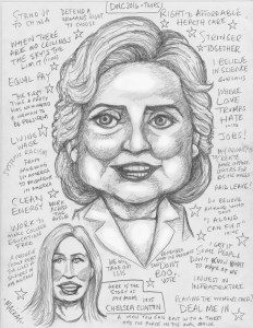 Live sketch of Clinton's acceptance speech