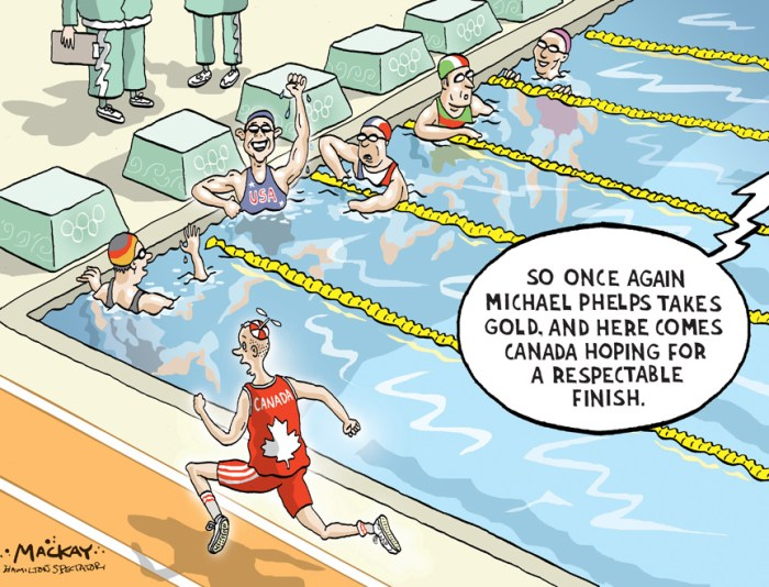 "Editorial Cartoon by Graeme MacKay, Editorial Cartoonist, The Hamilton Spectator - Thursday August 14, 2008 Why are we so bad at the Olympics? If we are, then here's something else you may have heard before: You get what you pay for at the Olympics. Ê Medals don't fallÊout of trees - not at the Summer Games. They come through sheer volume of legitimate medal chances, and the countries withÊmost darts come away with the most hardware. The early results? We're through five days of competition and our batting average is still .000. -- Togo has a medal. KyrgyzstanÊhas two. Azerbaijan has three. And Michael Phelps has five. We'll pass them all by the end, barring an absolute disaster, but still, as the calls from editors begin to roll into the press centresÊhere - all looking for the ""What's going wrong?"" angle that usually doesn't arrive for a few more days at these things - it isÊclear that Canadians are getting edgy. Don't forget. There are about a dozen countries in the world who are serious about hockey. Two - Canada and the U.S. - areÊgold medal threats in women's hockey. There are 200 countries that take track and field, boxing and swimming seriously. ""I think [we're] disappointed because we had some dreams, or expectation, and it seemed that it was going to be easy. But youÊcan see, nothing's ever easy,"" said Pierre Lafontaine, the team leader for Canada's swimming team. His team has posted all kinds of personal bests, but zero results. ""There's much more than just medals, but medals is whatÊshows on the books,"" he admits.(Source: National Post)Êhttp://www.nationalpost.com/opinion/columnists/story.html?id=606ca39f-a76d-47ae-ba90-f6d4c2c50d48&p=2 Letters: http://mackaycartoons.blogdrive.com/archive/210.html Canada, Olympic, Summer, games, sports, athletics, swimming, ranking, medals, results, Michael Phelps"