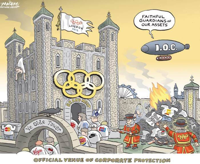 "By Graeme MacKay, The Hamilton Spectator, Friday July 27, 2012 Olympic brand enforcers out in full force As almost everyone in the world must know by now, there may not be enough guards to provide security for the 2012 London OlympicsÊbecause of a planning and hiring fiasco. Alas, there are no such concerns about the number of enforcement officers and lawyers charged with checking for violations of theÊGames' oppressive brand protection regulations. The Orwellian-sounding Olympic Deliverance Authority has 280 Olympic brand enforcers authorized by the government fanning acrossÊBritain this week to ensure nobody uses the five hallowed rings for any purpose unless they have paid a fortune to Olympic organizers toÊdo so. The London Organizing Committee (LOCOG) has a second team of zealots doing similar work on behalf of the rich and powerful. Among the offences these sleuths are ferreting out under the Olympic Games Act (2006) are putting two of the words ""games"" ""2012""Ê""Twenty Twelve,"" ""gold,"" ""bronze"" or ""medal"" in the same sentence. Offenders could be on the hook for fines of more than $30,000. Heck, there is even said to be a legal ban on spectators uploading personal photos of the London Games onto social networking sites suchÊas Facebook. The roundup by the authorities has so far implicated an 81-year-old grandmother of six from Norfolk who made a tiny sweater with theÊOlympics rings for a child's doll that her knitting circle intended to sell through a church charity for $1.63. (Source: Ottawa Citizen) International, London, UK, England, Olympic, Summer, games, IOC, corporate, sponsorship, rules, enforcement, logo, brand"
