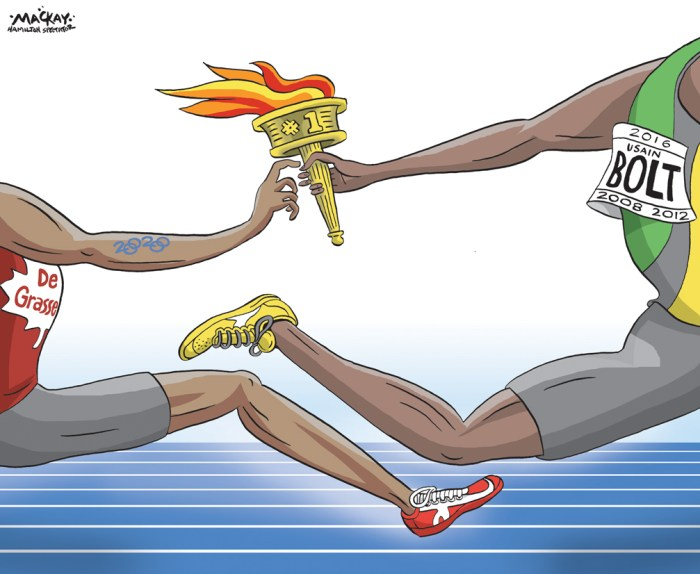 "Editorial Cartoon by Graeme MacKay, The Hamilton Spectator Ð Tuesday August 16, 2016 Usain Bolt is a mentor and friend to Andre De Grasse Andre De Grasse first had the chance to meet Usain Bolt when the Markham, Ont., native was getting set to run the anchor leg of Canada's 4x100-metre relay team at the 2014 Commonwealth Games. De Grasse, then 19, was too nervous to talk to the sprinting legend, and shied away from Bolt. But times have certainly changed. On Sunday night, Bolt won his third straight Olympic gold medal in the 100-metre sprint, crossing the line in 9.81 seconds, 8-100ths of a second ahead of American Justin Gatlin. De Grasse made his Olympic debut a memorable one, capturing bronze in a personal best of 9.91. Afterwards, the two shared congratulations, much as they did while standing on the podium at the 2015 world championships. Despite the rivalry, Bolt seems very genuine in his fondness of De Grasse, while the Canadian looks up to the Jamaican icon. ""We were just having some fun,"" De Grasse said after Sunday's final. ""Me and Usain met back in January, we did a lot of things together.Ó The two have gotten to know each other quite well over the last two years during meets and sponsored events Ñ both are signed with apparel company Puma Ñ and the Jamaican star sees a bright future ahead for the 21-year-old. The friendship didn't stop De Grasse from doing everything he could to usurp the now three-time Olympic champion. It didn't happen in Rio, but a bronze medal in his Olympic debut has definitely caught Bolt's eye.ÊÊ ""For me, it's a big deal,"" Bolt said of De Grasse's performance. ""To come third last year [at the world championships] and then this year, to come in an even better field to do the same again, that's a big deal.Ó Bolt said he expects Rio to be his final Olympics, though the 29-year-old wouldn't rule out competing in Tokyo 2020. If he doesn't pursue a fourth 100-metre Olympic gold, he'll most certainly have an eye out for his c"