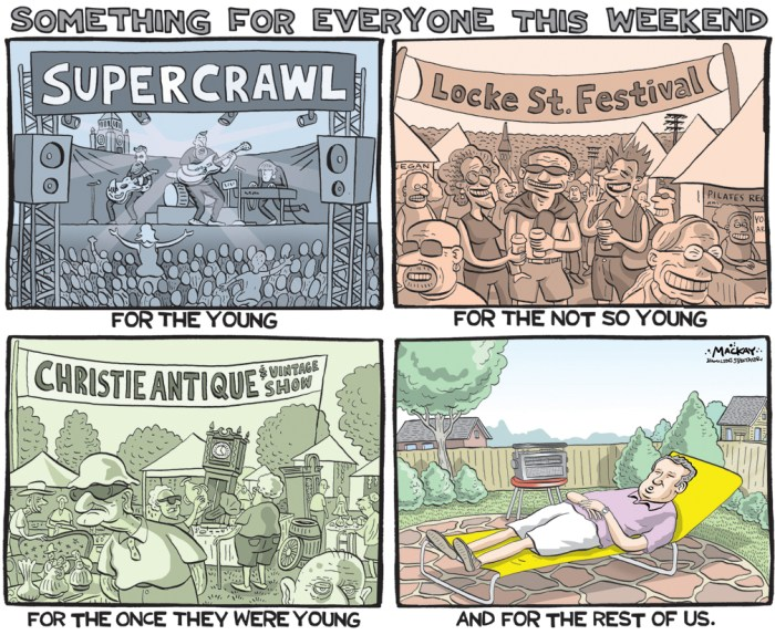 Editorial Cartoon by Graeme MacKay, The Hamilton Spectator Ð Saturday, September 10, 2016 September, Hamilton, Festival, Christie, Conservation, area, Supercrawl, Locke Street, rest, weekend, antiques